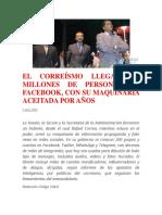 EL CORREÍSMO LLEGA A 9 MILLONES DE PERSONAS EN FACEBOOK
