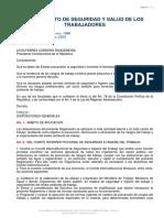 REGLAMENTO DE SEGURIDAD Y SALUD DE LOS TRABAJADORES