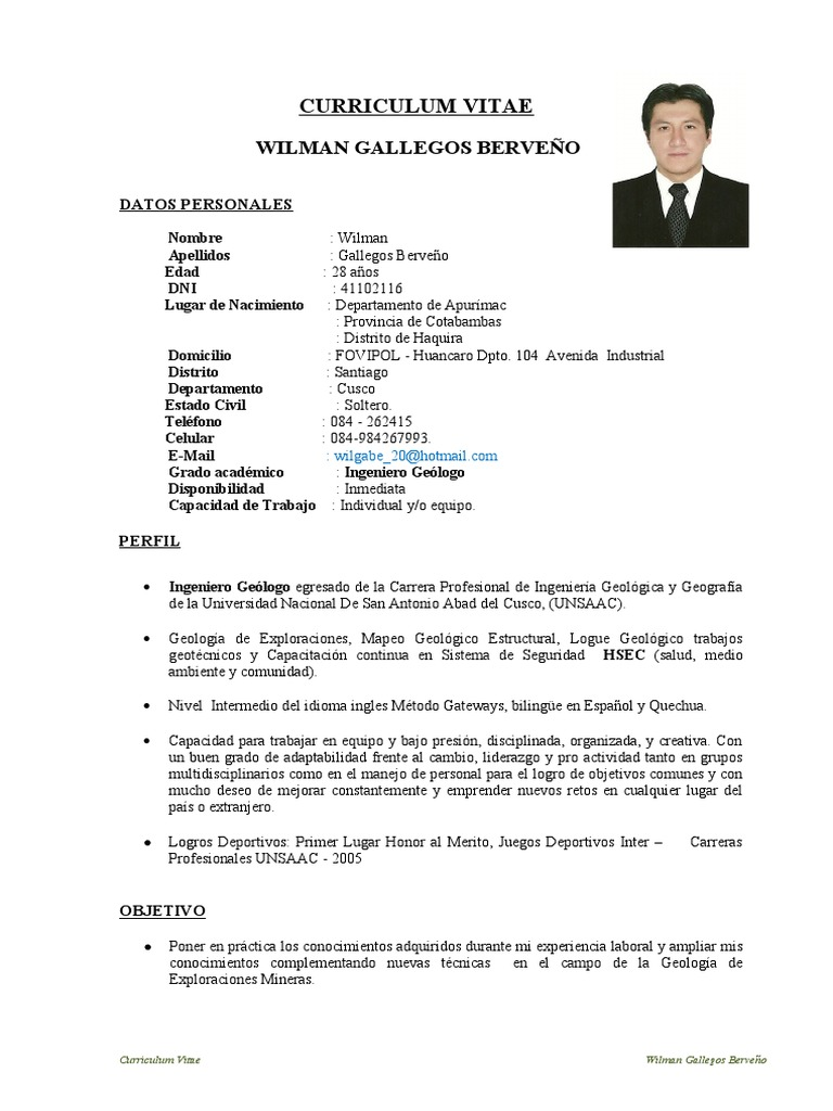 CV Wilman Geologo