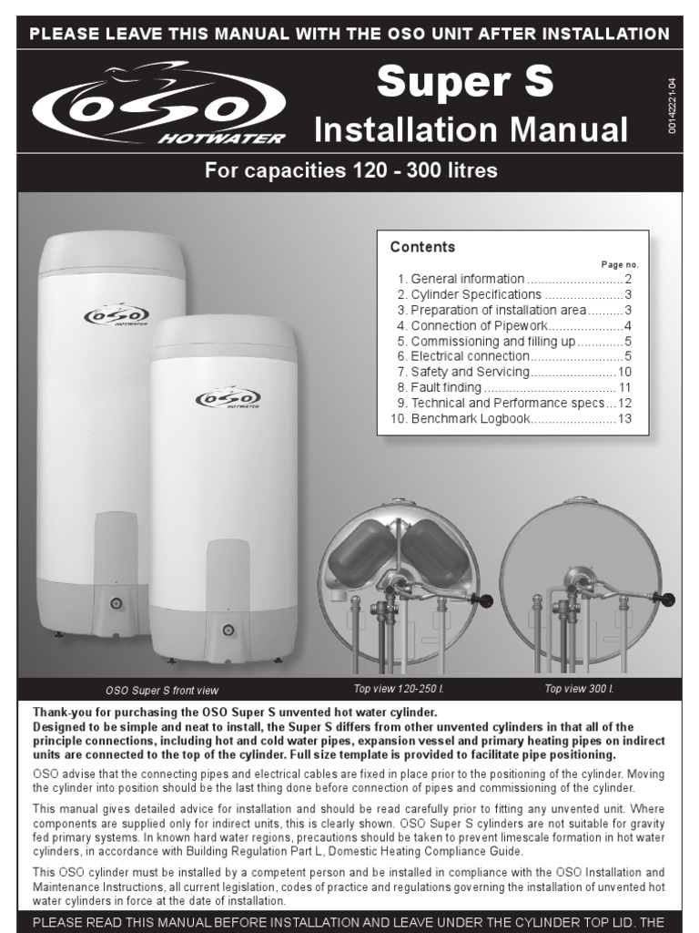 Super S Installation Manual | Water Heating | Thermostat