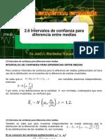 2.6 Intervalos de confianza para diferencia entre medias - Dr. Jose A. Sarricolea Valencia
