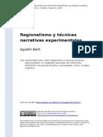 Agustin Berti (2009). Regionalismo y tecnicas narrativas experimentales