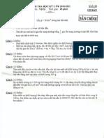 Đáp án kiểm tra học kì 1 lớp 10 (2010-2011