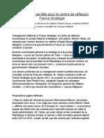 Changement de tête pour le centre de réflexion France Stratégie