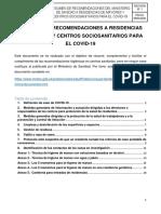 RESUMEN DE RECOMENDACIONES A RESIDENCIAS DE MAYORES Y CENTROS SOCIOSANITARIOS PARA EL COVID-19