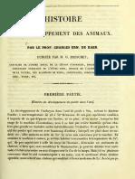 BAER 'HISTOIRE DU DEVELOPEMENTS DES ANIMAUX'