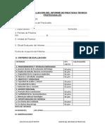 ACTA DE LA EVALUACION DEL INFORME DE PRACTICAS TECNICO PROFESIONALES