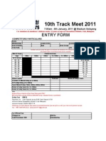 Pacesetters Track Meet Entry Form 2011