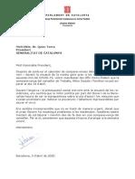 Carta al M.H. President de La Generalitat