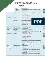 TABLA DE ESPECIFICACIONES PARA SUBLIMAR