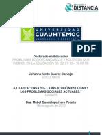 Johanna Ivette Suarez Carvajal_ Act. 4.1 TAREA ENSAYO LA INSTITUCIÓN ESCOLAR Y LOS PROBLEMAS SOC