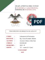 Informe de Peso Especifico de Briquetas de Asfalto