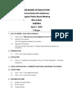 Regular Board Meeting Agenda Package - April 7, 2020
