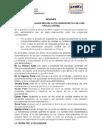 RESUMEN TEORÍA DE LAS NULIDADES DEL ACTO ADMINISTRATIVO DE JOSE ARAUJO JUÁREZ