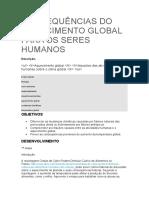 CONSEQUÊNCIAS DO AQUECIMENTO GLOBAL PARA OS SERES HUMANOS