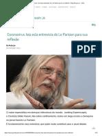 Coronavírus_ leia esta entrevista do Le Parisien para sua reflexão - Blog Amaury Jr. - BOL