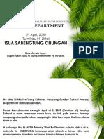 Primary Department Zirlai 41 - Tumkau Ni- April 5, 2020 - Mission Veng Kohhran