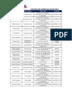 Listado convenio de especiliatas 2017