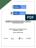 LINEAMIENTOS PARA PREVENCIÓN CONTROL Y REPORTE DE ACCIDENTE POR EXPOSICIÓN OCUPACIONAL AL COVID-19 EN INSTITUCIONES DE SALUD