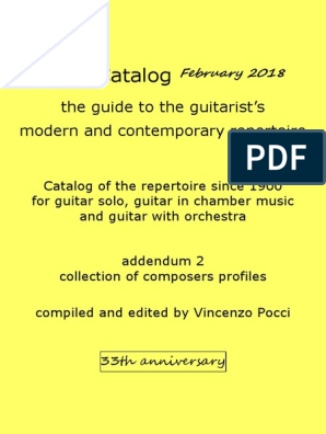 Pocci Catalog The Guide To The Guitarist S Modern And Contemporary Repertoire Classical Music Performing Arts
