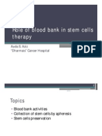 Role of Blood Bank in Stem Cells Therapy
