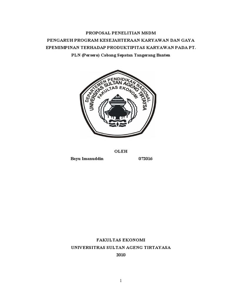 Contoh Proposal Skripsi Pdf Msdm Pejuang Skripsi