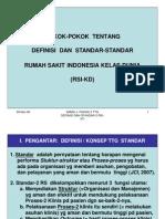 Pokok-Pokok Tentang Definisi dan Standar-Standar Rumah Sakit Indonesia Kelas Dunia (RSI-KD)