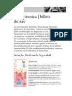 FICHA TECNICA BILLETE DE $20