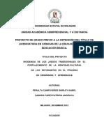 INCIDENCIA DE LOS JUEGOS TRADICIONALES EN EL FORTALECMIENTO DE LA IDENTIDAD CULTURAL DE LOS ESTUDIANTES EN EL PROCESO DE ENSEÑANZA Y APRENDIZAJE