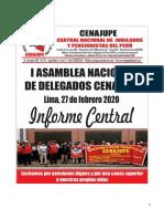 Informe Central de la I Asamblea Nacional de Delegados de CENAJUPE realizado el 27 de febrero 2020