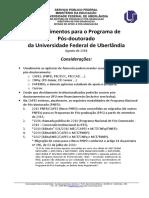 Procedimentos pós-doutorado na UFU