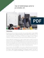 Cómo afrontar el teletrabajo ante la amenaza del COVID