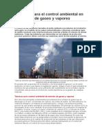 Técnicas para el control ambiental en la emisión de gases y vapores