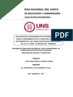 APLICACIÓN DE UN PROGRAMA DE ACTIVIDADES LITERARIAS