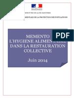 5 Memento Hygiene alimentaire restauration collective DDPP 06 Juin 2014