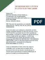 RECURSO DE REPOSICION Y EN SUB APELACION ANTE ELECTRICARIBE