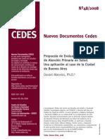 Nuevos documentos CEDES. Propuesta de Evaluación de Estrategias de Atención Primaria en Salud. Una aplicación al caso de la Ciudad de Buenos Aires