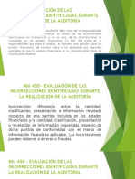 NIA 450 - EVALUACIÓN DE LAS INCORRECCIONES IDENTIFICADAS
