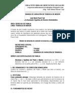 Modelo de Demanda de Variación de Tenencia y Custodia - Autor José María Pacori Cari