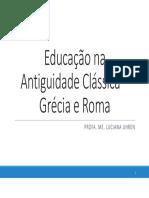 EDUCAÇÃO NA ANTIGUIDADE CLÁSSICA