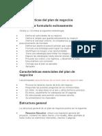 Características del plan de negocios