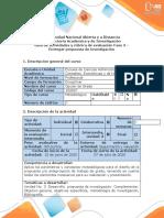 Guía de actividades y rúbrica de evaluación - Fase 3 - Entregar propuesta de investigación