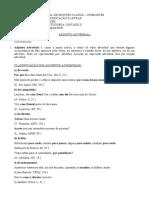 Adjunto Adverbial- Roteiro e Resumo