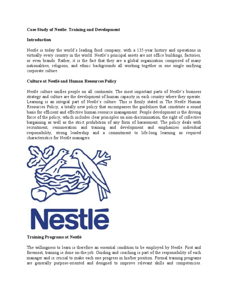 Case Study of Nestle Training and Development   Apprenticeship ...