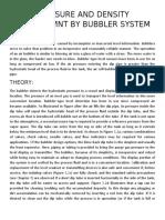 PRESSURE AND DENSITY MEASUREMNT BY BUBBLER SYSTEM