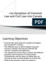 Foundations of Canadian Law Lecture  3 - The Reception of Common Law and Civil Law into Canada (MM)