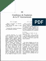 Conférence de Fondation de La IVe Internationale. Procès-Verbaux (Septembre 1938)