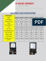 JK LED  STREET LIGHT SPECIFICATION