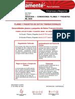 SEGMENTO NEGOCIOS – CONDICIONES PLANES Y PAQUETES DATOS – ABRIL 2020