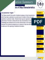 Regression Analysis of Ship Characteristics